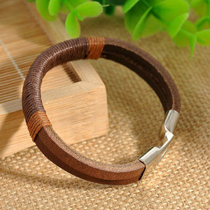 Leather Wristband Bracelet Cuff Black BrownVintage